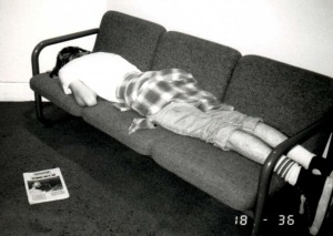 Kurt sleeping at WNYU 1989 300 dpi